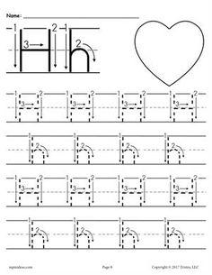 the letter h trace hearts preschool worksheets crafts preschool worksheets preschool. Black Bedroom Furniture Sets. Home Design Ideas