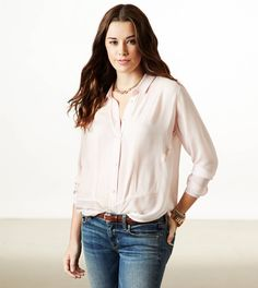Shy Paneled Chiffon Button Down from American Eagle