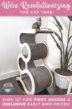 """Redefine the meaning of """"cat tree"""" with our Modern Wave Cat Tree! This modern piece of luxury cat furniture will level up your cat's living space without sacrificing your home decor. Crazy Cat Lady, Crazy Cats, Mean Cat, Cat Store, Cat Towers, Cat Playground, Cat Room, Cat Accessories, Animal Projects"""