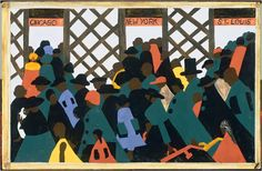 The Great Migration by Jacob Lawrence (found in the NY Times) is a series of paintings depicting African Americans moving from the rural South to the prosperous and unwelcoming North.