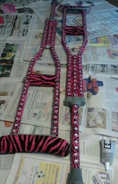Decorated crutches with duct tape and super glued bling, felt for the arm and hand holder for extra cushion.