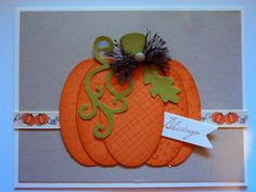 handmade Thanksgiving card from Card Corner by Candee ... delightful version of the die cut oval pumpkin ... orange cardstock with tone on tone background designs ... olive and orange pumpkin ... cute pumpking print ribbon band too ... luv this pumpkin!!