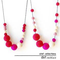 Pink Necklace. Summer Fashion. Felt Ball Necklace. Wood Bead Necklace.Black String. Chunky Necklace. Quirky. Bold. Adjustable Necklace.