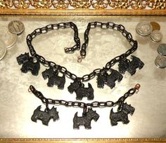 Vintage 1940's Celluloid Scottie Dogs Necklace & Bracelet