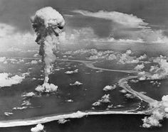 What seems to be a testin of the Atomic Bomb.