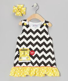 Take a look at this Black & Yellow School Bus Jumper & Bow Clip - Infant & Toddler by Molly Pop Inc. on #zulily today!