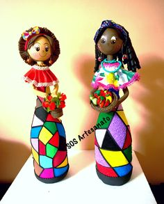 Glass Bottle Crafts, Diy Bottle, Bottle Art, Clay Crafts, Diy And Crafts, Arts And Crafts, Paper Crafts, Diy Pallet Projects, Sewing Projects
