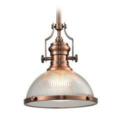 Elk Lighting Pendant Light with Clear Glass in Antique Copper Finish | 66543-1 | Destination Lighting