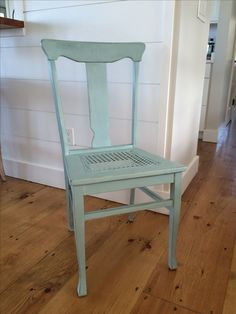 Oak caned seat chair painted Duck Egg , distressed and clear wax.