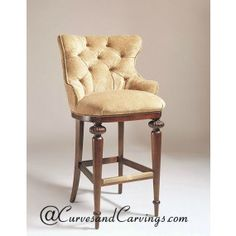 Curves Carvings Signature Collection Chair CC CHAIR Wood BarsBar ChairsFurniture