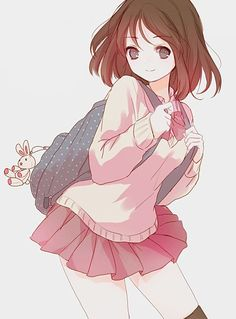 Manga girl in school uniform . backpack with bunny . - Manga girl in school uniform … medium-length brown hair … backpack with bunny pendant … cute - Anime Chibi, Manga Anime, Manga Girl, Fanart Manga, Manga Kawaii, Kawaii Anime Girl, Anime Girls, Beautiful Anime Girl, I Love Anime