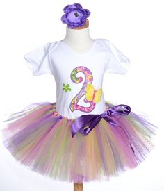 Purple Pink Butterfly Girls Birthday Tutu Outfit