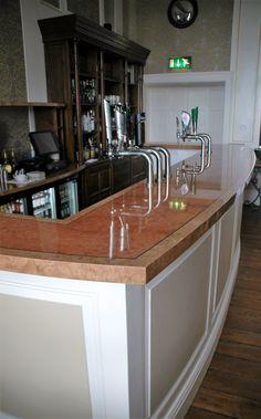 Bespoke bar counter by Fheoir Furniture Bar Counter, Wood Veneer, Bespoke, Ireland, Interior Design, Kitchen, Furniture, Home Decor, Taylormade