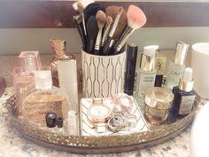 Vanity tray in master bath - - Vanity tray in master bath My house! Vanity tray in master bath Bathroom Vanity Decor, Bathroom Layout, Master Bath Vanity, Master Bathroom, Master Baths, Bathroom Cost, Master Master, Makeup Storage, Makeup Organization