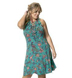 Vestido Viscose Stretch Floral Verde com Abertura Frontal Wee! Plus Size  #modaplussize #roupasplussize #roupasfemininas #modafeminina #plussize #beline