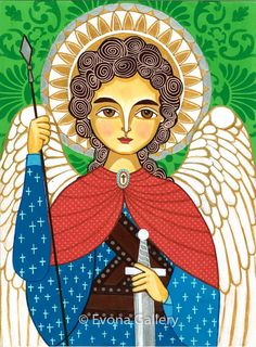 Folk Art Painting Icon of Saint Michael the by Evonagallery, $20.00