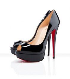 Christian Louboutin Lady Peep 150mm (Black) Christian Louboutin Women, Patent Shoes, Wedge Ankle Boots, Peep Toe Platform, Black Peep Toe Pumps, Red Shoes, High Heels, Sexy Heels, Designer Shoes