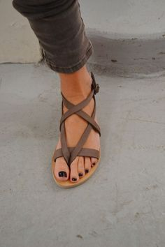 Grey Leather Sandals, Grey Ankle Skinny Jeans, Black Nail Polish
