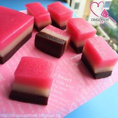 Miki's Food Archives : Tri-Flavoured Mochi Cake (Baked) 烤QQ MOCHI 糕