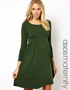 Image 1 ofASOS Maternity Slash Neck Skater Dress. For outdoor maternity pictures. Add mittens & scarf & slouchy hat. W/ leggings & boots