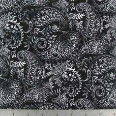 White & Black Paisley Cotton Calico Fabric