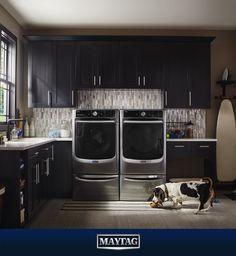 If you stare long enough, you can see Maytag wide-eyed and smiling about laundry.