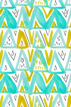 Caret + Comma in Grellow Mint by Emily Sanford. Turquoise, gold, black and white watercolor triangles. Available in fabric, wallpaper, and gift wrap.