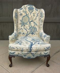 Los Angeles: Pair GORGEOUS Vintage Designer Blue Floral Wingback ARMCHAIR  $695   Http:/