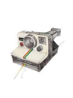 """""""Polaroidkamera"""" (Polaroid camera)  Copyright: Emmeselle.no   illustration by Mona Stenseth Larsen"""
