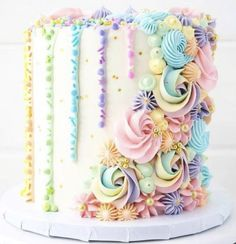 Brittany May on So happy I had the opportunity to make this pastel rainbow cake for a sweet little girls birthday! Its made up of rich chocolate layers, Pretty Cakes, Cute Cakes, Beautiful Cakes, Amazing Cakes, Drip Cakes, Pastell Party, Decoration Patisserie, Pastel Cakes, Colorful Cakes