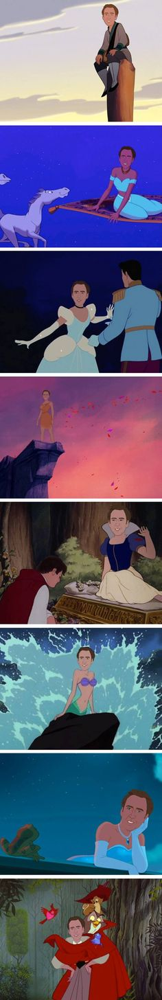 Nicholas Cage as each Disney Princess. LOL... I don't know why this is so funny