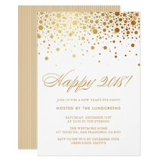 faux gold foil confetti new years eve party card invitation card party happy new year