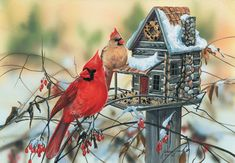Valentine's Day Special: Buy any 2 SunsOut Puzzles and get a free 2014 Calendar Puzzle!   Cardinal's Rustic Retreat - 500 piece. Artist. Jeanne Grende.