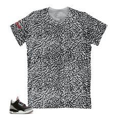 7fa8ac517ee Jordan 3 Black Cement Shirt - All Over - Grey