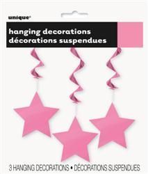 Hanging Swirls with Stars x 3 Pink Hollywood Party Decorations Supplies