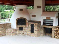 Outdoor kitchen with BBQ, pizza oven and traditional stove. Gyönyörű nyári konyha, tűzhellyel, kemencével, grillel.