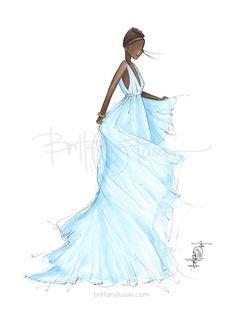 Oscars red carpet | Lupita | fashion illustration | Brittany Fuson