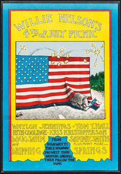 """Willie Nelson's Fourth of July Picnic (1973). Concert Poster (11"""" X 16""""). Musical. Offered is the first concert poster for Willie Nelson's Fourth of July Picnic concert. Inspired by the 1972 Dripping Springs Reunion event, Willie Nelson's annual 4th of July event has become a Texas staple of progressive country music."""