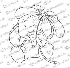 Elefant mit Blume Digi stamp von LeeHIllustrations auf Etsy