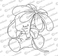 Elephant with flower Digi stamp by LeeHIllustrations on Etsy, £2.00