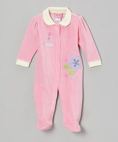 Take a look at this Pink Flowers Velour Footie - Infant by Carter's Watch the Wear on #zulily today!