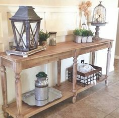 Beautiful entry table ideas to give some inspiration on updating your home or adding fresh and new furniture and decor, Hall table decor, Foyer table decor and Farmhouse sofa table. Entrance Table Decor, Entryway Decor, Table Decorations, Foyer Tables, Console Tables, Wooden Console, Entryway Console, Entryway Furniture, Entryway Ideas
