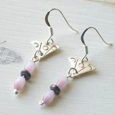 Boucles d'oreilles argent massif, pierre de gemme, hématite, perle verre, ref boag11
