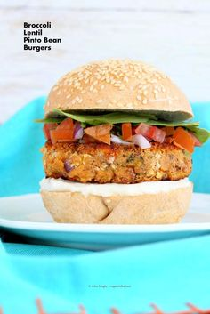 Easy Pinto Bean Broccoli Lentil Burgers. Serve with Pico de gallo, hot sauce, guacamole/avocado and hot sauce! Vegan Soy-free Burger Recipe