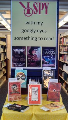 I spy with my #googlyeyes something to read #librarydisplay by Erin Kilkenny (inspiration from googlyeyebooks.tumblr.com)