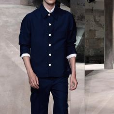 The blue blazer seen by Marni. The utilitarian feel of a uniform suit. Discover the #SS16 Men's Collection on marni.com #marniss16