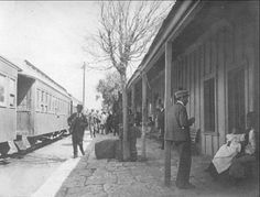 Trans Andean Railway train at station, 1905. Hagley Museum Digital Archives.