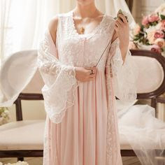 Vintage Robe Lace Nightgown Set For Ladies Embroidery Sleepwear Princess Robe Gowns Women New Fashion - AliExpress Night Dress For Women, Elegant Dresses For Women, Satin Sleepwear, Sleepwear Women, Nightwear, Cute Clothes For Women, Lace Nightgown, Nightgowns For Women, Modeling