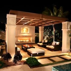 Beautiful Outdoor Rooms * Beautiful Pergola structure on stucco columns.