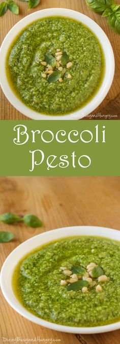 Broccoli Pesto | DizzyBusyandHungry.com - Delicious spin on traditional pesto, perfect for using on sandwiches, pizza, or as a pasta sauce!